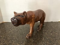 """Solid Wood Panther Statue 7"""" Tall 10"""" Long Manassas"""
