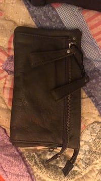 Grey leather wristlet