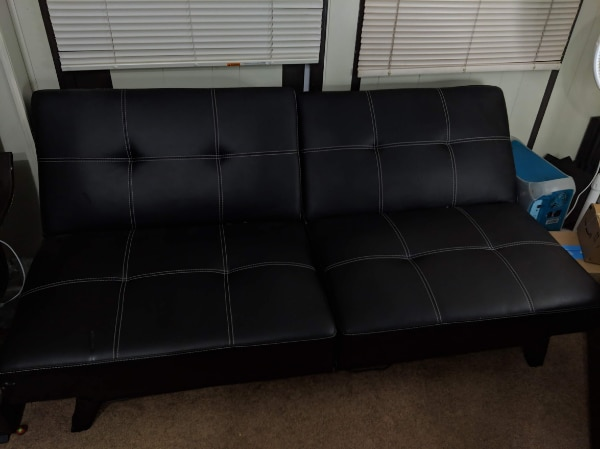 IKEA leather convertible sofa bed black