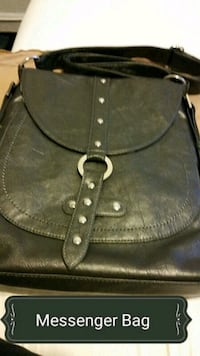 black leather sling bag with text overlay