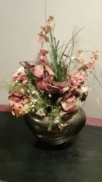 green and pink floral ceramic vase Dallas, 75206