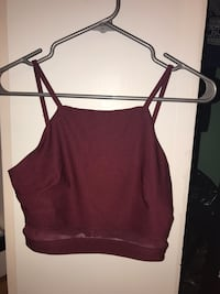 red burgundy cropped top cami Montréal, H2X
