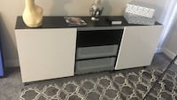 Black and white wooden tv stand