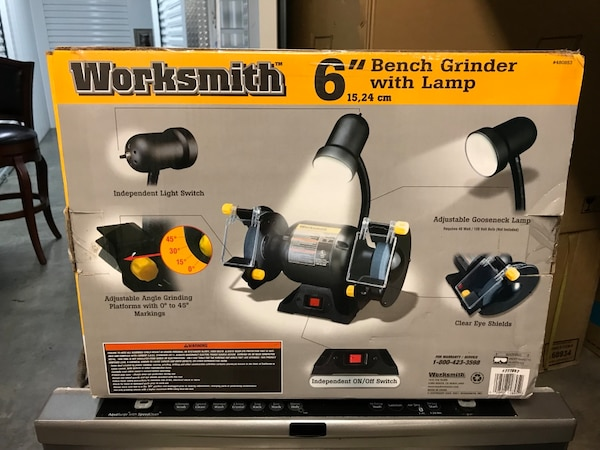 Stupendous 6 Inch Worksmith Bench Grinder With Lamp Caraccident5 Cool Chair Designs And Ideas Caraccident5Info