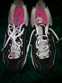 pair of black-and-pink sneakers