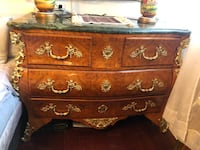 Antique French brass detailed dresser with marble top Toronto, M2R 3N1