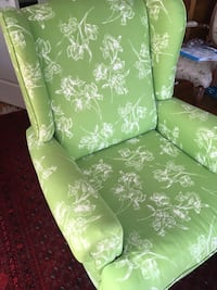 Green and white floral fabric sofa chair Everett, 02149