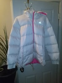 White on hot pink Adidas winter coat size smaller XL
