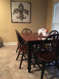 rectangular brown wooden table with four chairs dining set Denham Springs