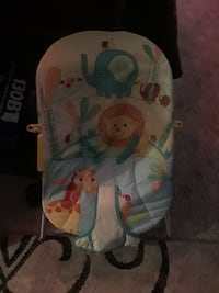 baby's yellow and blue Animal-themed bouncer Rogers, 72756