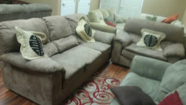 Tan Microfiber Sofa Loveseat Chair Free Delivery