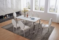 MARBLE TABLE + 2 ARM CHAIRS + 4 SIDE CHAIRS! BRAND NEW IN THE BOX