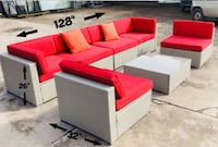 Patio furniture set beige with red cushions