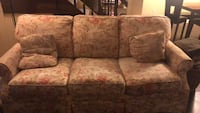 Brown and red floral 3-seat sofa Charlotte, 28212