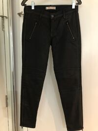 J Brand Coated Black Jeans with side zippers small Size 29