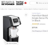 """""""Hamilton Beach Flewbrew Single Serve Coffeemaker - New in BoxThe Hamilton Beach FlexBrew Single-Serve Plus Coffee Maker lets you easily make a personal cup of coffee using ground coffee or K-Cups. This versatile coffee maker fits perfectly on any kitchen Toronto"""