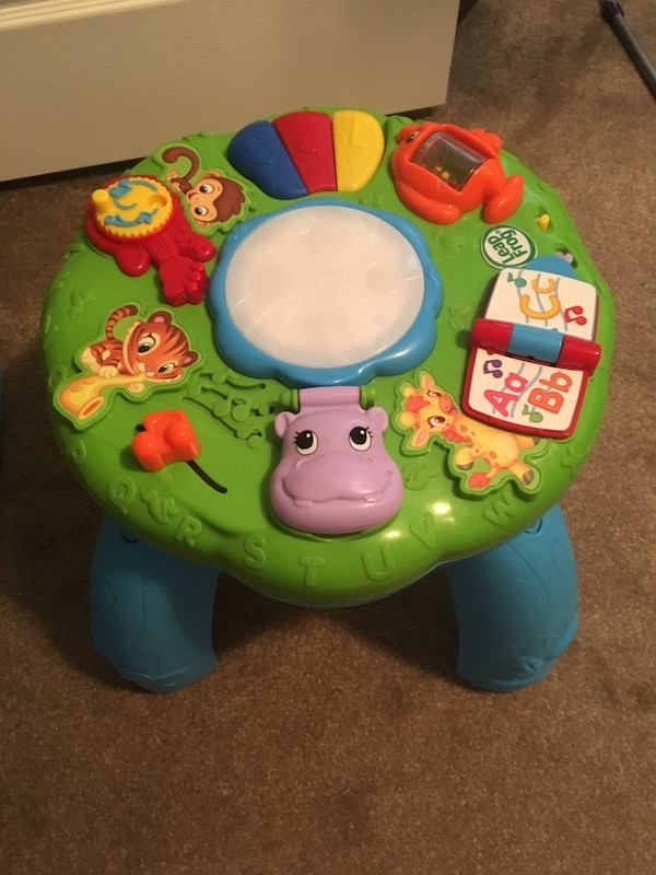 baby's green and blue activity table