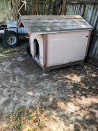2 Solid wood Dog House's for sale with asphalt shingle roof. Each is being solid for $125. Tampa, 33615