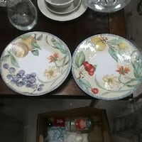 four white-and-green floral ceramic plates Mountain Top, 18707