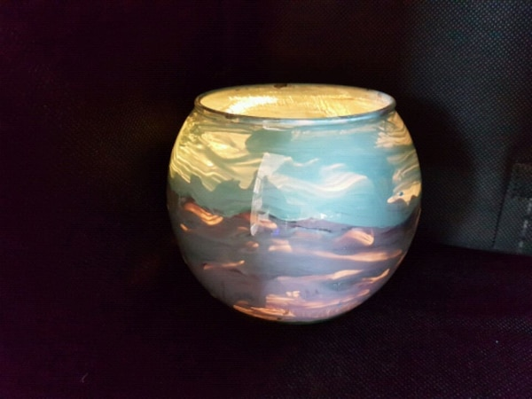 Artisan hand painted glass vase / candle holder f9bac2ee-ff78-41aa-ac82-c826e0947ef0