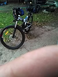 Blue and white folding electric bicycle Pawtucket, 02860