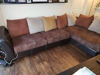 brown and black sectional couch Los Angeles, 91335