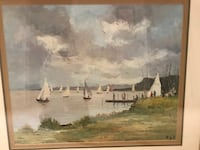 sailboats and trees painting