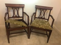 Two brown wooden framed padded chairs Concord, 94520