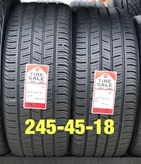 2 used tires 245/45/18 Continental (A+) 1206 mi