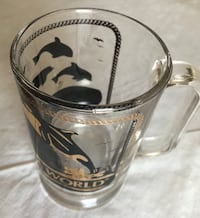 """Beer Mug """"Sea World"""". Clear glass. Made in Italy. 5 3/4""""H Like NEW Las Vegas, 89102"""