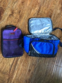purple and blue bags