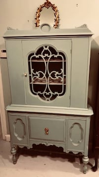 Robin's egg blue Jacobean china cabinet hutch curio Kensington