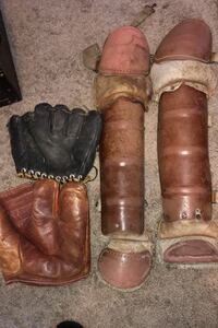 Antique/vintage gloves and old shin guards