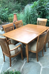 """Solid Oak Dining Room Table with six chairs and table protector pads.  Regular length is 5' 4"""". Table for a total length of 8' 8"""" Vienna, 22181"""