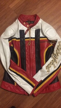 red and white leather zip-up jacket