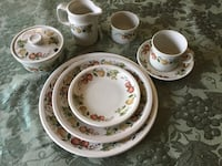 white and pink floral ceramic dinnerware set Vienna, 22180