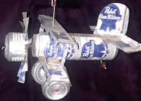 Handcrafted Pabst Blue Ribbon Biplane