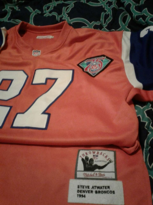 finest selection ea574 af894 orange and white Steve Atwater Denver Broncos jersey short