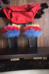 Furry Rainbow Slides & Love Pink Pouch