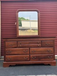 Solid Wood 7 Drawer Long Dresser With Mirror  Woodbridge, 22192
