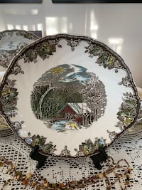 Friendly Village Handled Cake Plate