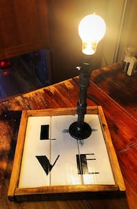 Steampunk table lamp with tray