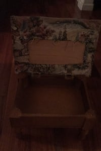 Vintage wood stool with compartment