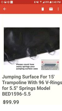 NEW! 15-FT TRAMPOLINE JUMPING SURFACE W/96 V-RINGS Wyandotte