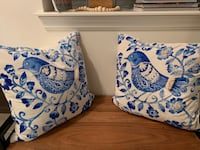 Two Beautiful blue and White velvety decor pillows