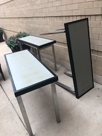 black wooden framed glass top table Dallas, 75240