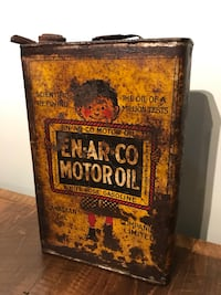 Rare antique Enarco motor oil tin can, White rose gas pump sign Ottawa, K0A 3H0