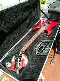Red Jackson electric guitar & case