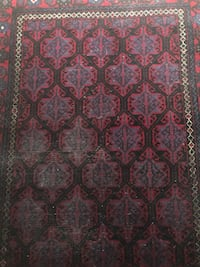 Turkish rug red and dark blue 8x3 ft for hallway