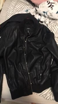 Black leather zip-up jacket small can fit medium Surrey, V4N